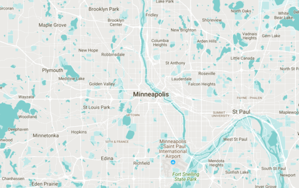 map of Minneapolis, St. Paul and surrounding cities