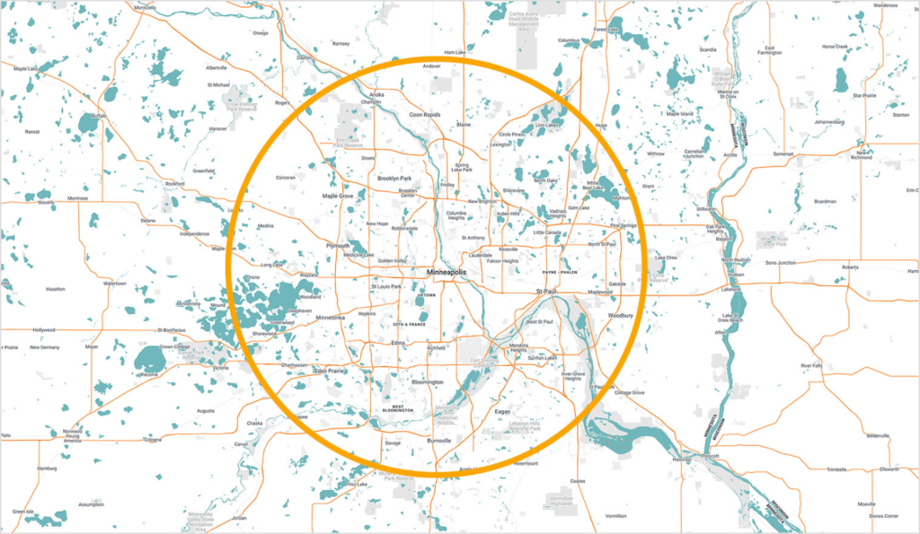 Minneapolis, St. Paul and surrounding cities inside a circle
