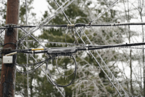 Frozen power lines in winter