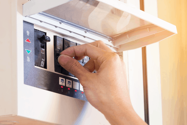 Toggling off a circuit breaker on a circuit box