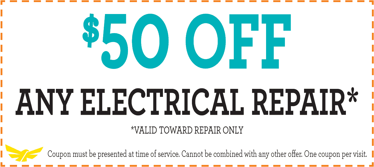Special: $50 off any electrical repair - Valid toward repair only.